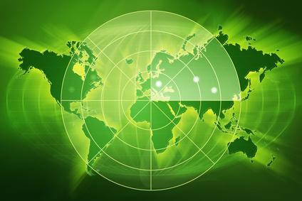 green map with radar